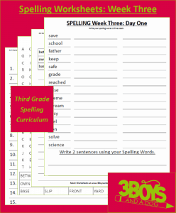 Third Grade Spelling Curriculum: Week Three