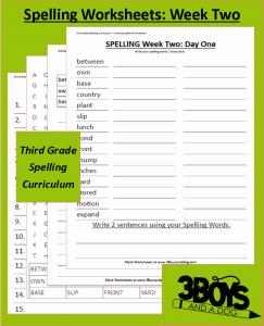 Third Grade Spelling Curriculum: Week Two