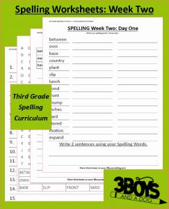 Third Grade Spelling Curriculum: Week Two