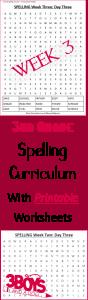 Week Three Printable Spelling Curriculum