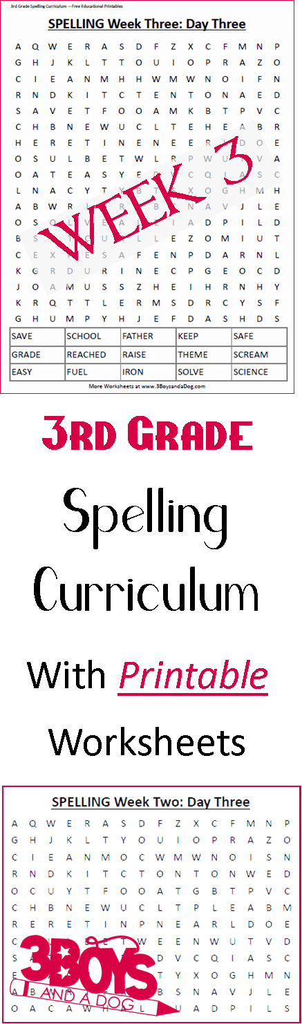 These Third Grade Spelling Curriculum: Week Three words will help your Kids spell the words, but also learn the meanings!