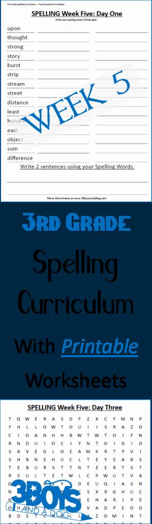 Week Five Printable Spelling Curriculum for third grade - great for homeschool