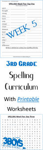 Week Five Printable Spelling Curriculum for third grade - great for homeschool