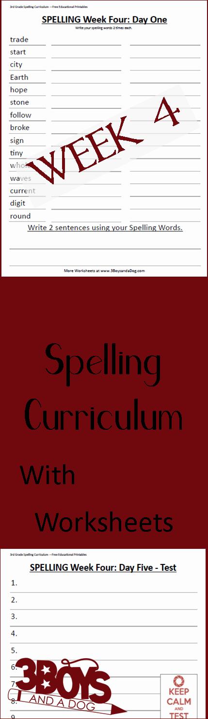 Week Four Printable Spelling Curriculum