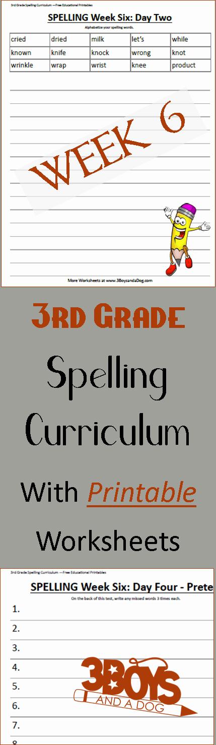 Week Six Printable Spelling Curriculum