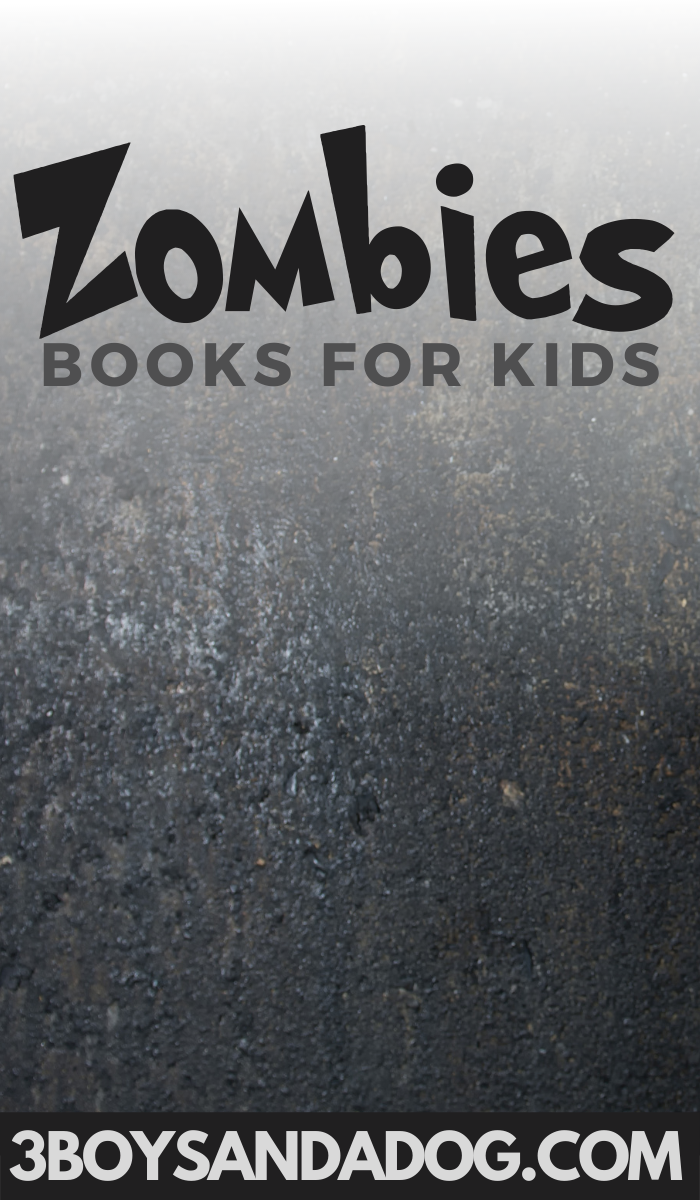 creepy dark background image with the words Children's Books about Zombies