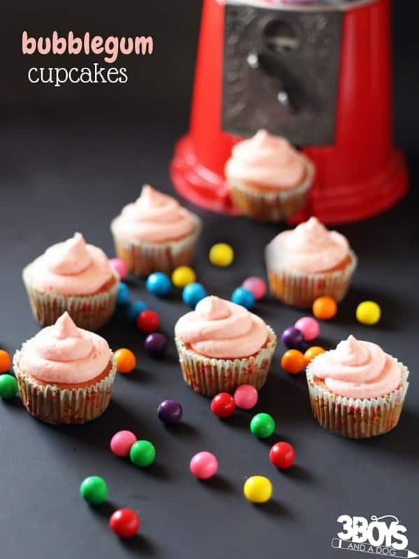 Bubblegum Cupcakes - a fun candy-inspired cupcake perfect for serving at a kids' birthday party. A raspberry-vanilla cupcakes kids and adults will love!