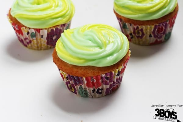 This Mt Dew Cupcake Recipe is just 2 ingredients for the cake - making it an easy and quick party cupcake