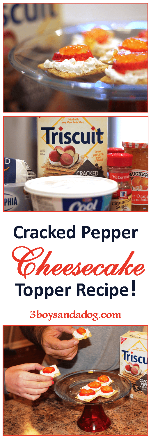 This delicious and easy TRISCUIT Cracked Pepper Cheesecake Topper Party Recipe is a perfect holiday party appetizer! It only has three steps!