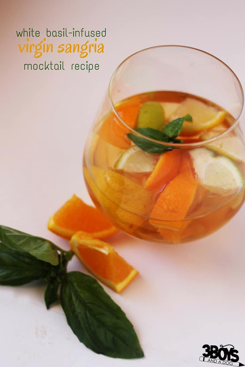 A delicious and refreshing basil-infused mocktail recipe for entertaining. A year-round favourite, this Virgin Sangria Mocktail Recipe is a fun twist on an Italian classic.