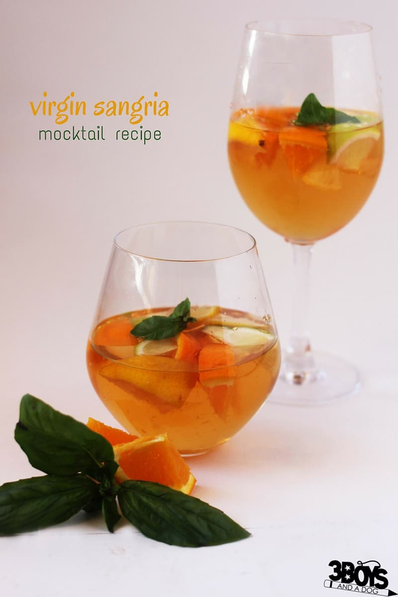 Basil-infused Virgin Sangria Mocktail Recipe, a fun grown-up drink without any alcohol. Perfect for entertaining or offering to sober guests