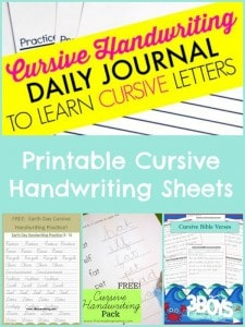 Cursive Handwriting Sheets