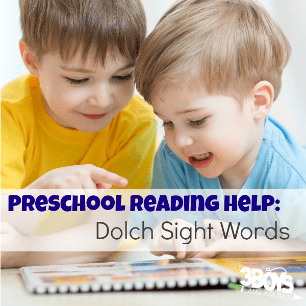 Dolch Sight Words Preschool Reading Help
