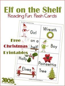 Elf Reading Christmas Printable Flash Cards