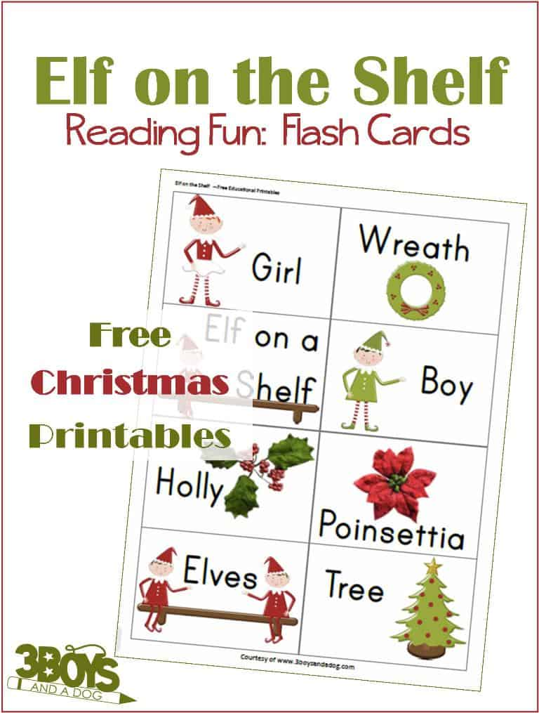 Free printable Christmas sight words based on Elf on the Shelf with pictures.