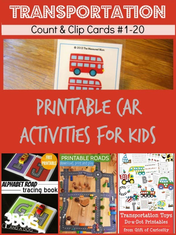Printable Car Activities for Kids