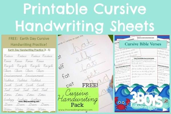 Printable Cursive Handwriting Sheets