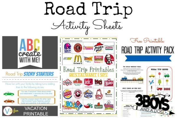 Printable Road Trip Activity Sheets