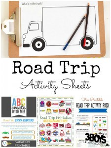 12 Road Trip Activity Sheets