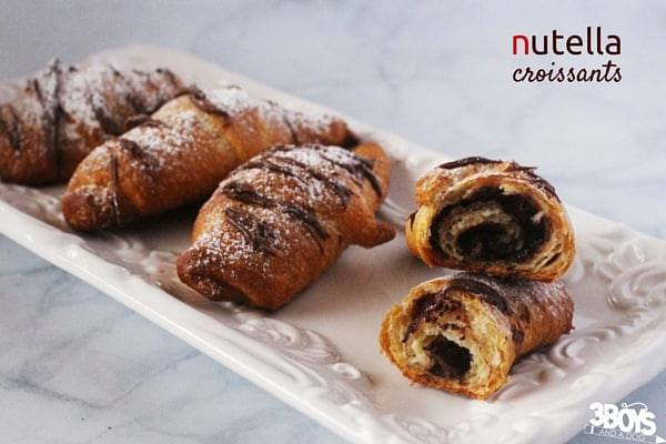 Nutella Croissants - 2 ingredients and your morning is off to a heavenly start. A breakfast recipe for Christmas morning, or a special birthday breakfast that takes less than 5 minutes to prepare.