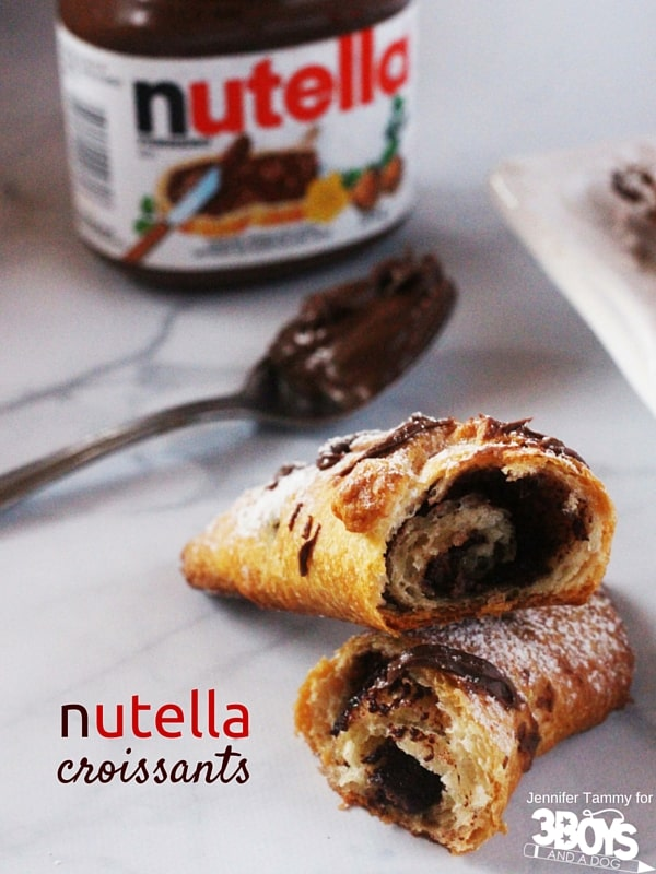 Nutella Croissants - 2 ingredients and your morning is off to a heavenly start. A great idea for a quick breakfast that is still a little bit special - perfect for Christmas morning or a birthday breakfast.