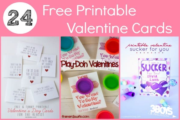 24 Free Printable Valentine Cards 3 Boys and a Dog 3 Boys and – Free Printable Valentines Card