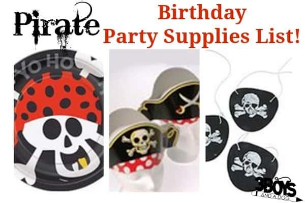 Fun Pirate Birthday Party Supplies List