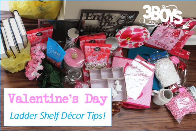 Gather the supplies necessary to decorate your Valentine themed ladder shelf