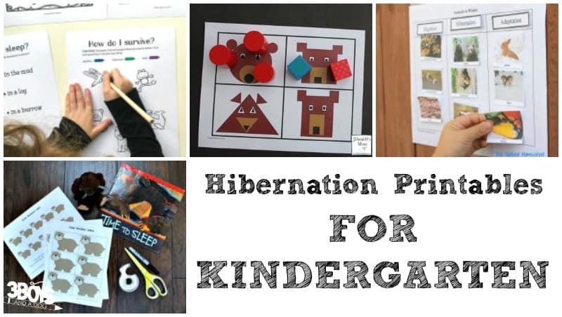 Hibernation Printables for Kindergarten