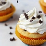Chocolate Chip Cupcakes with Bright Chocolate Chip Frosting