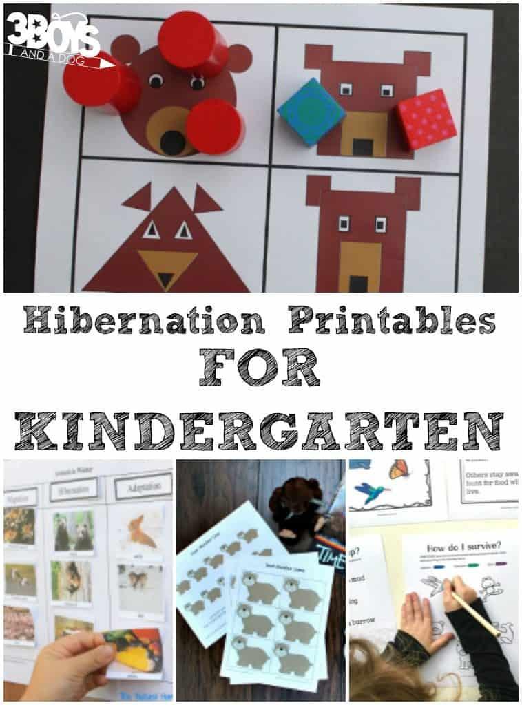 Kindergarten hibernation printables 3 boys and a dog 3 for Hibernation crafts for kids