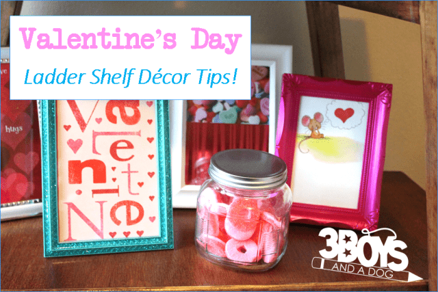 Picture Frames add dimension to your valentine's day ladder shelf decorating project