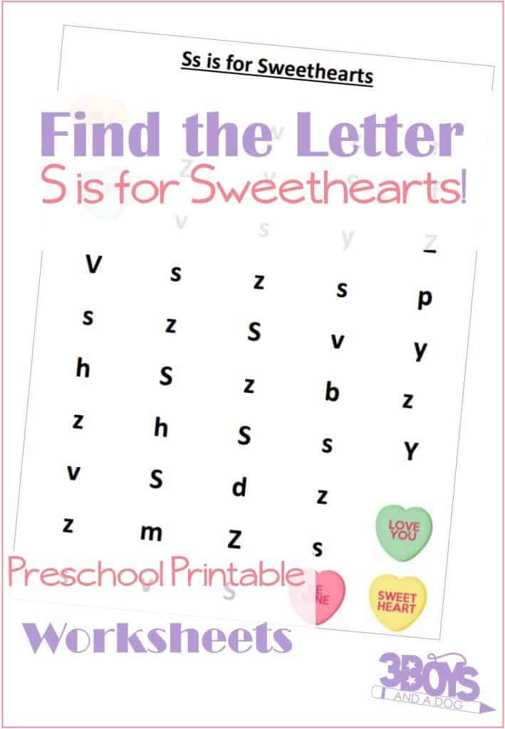 these valentines day themed find the letter printables s is for sweethearts will help your - Find The Pictures Printables
