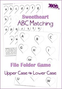 Valentine Alphabet Matching File Folder Printable Game