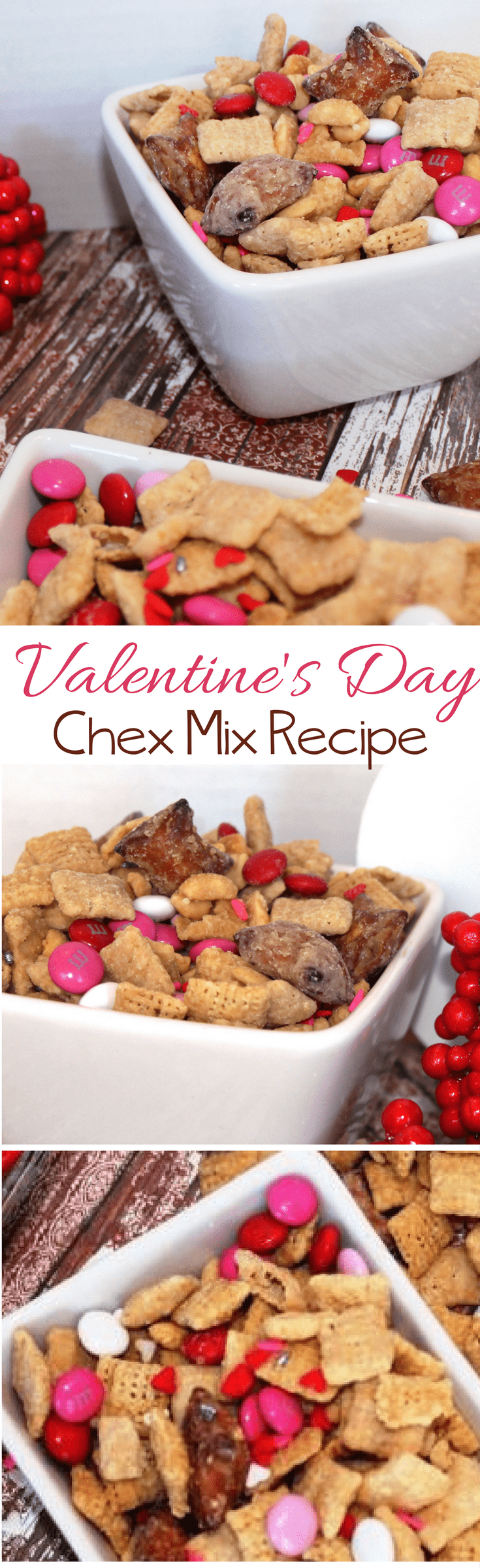 Sweet and Salty Valentine Chex Mix Recipe includes pretzels, pink candies, and white powdered sugar.  The peanut butter filled nuggets add just enough salt to this sweet Valentine Chex Mix Recipe to tone down the sweetness!