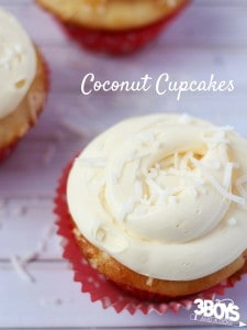 This Coconut Cupcake Recipe is a tropical cupcake recipe that's perfect for your beach-themed party menu