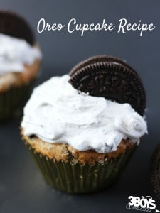 I've tried lots of Oreo Cupcake Recipes and this one is perfect! Tangy buttermilk cupcake with a cream cheese frosting, both sprinkled with a generous helping of Oreo cookie crumbs - yum!