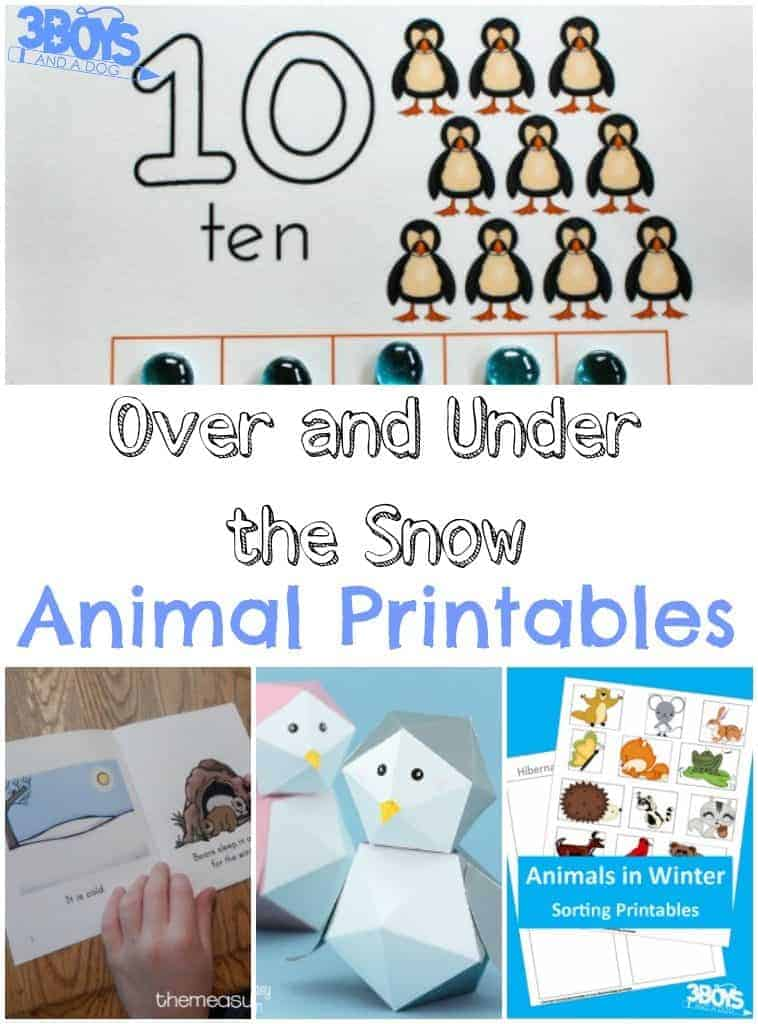 Over and Under the Snow Animal Printables - 3 Boys and a Dog – 3 ...