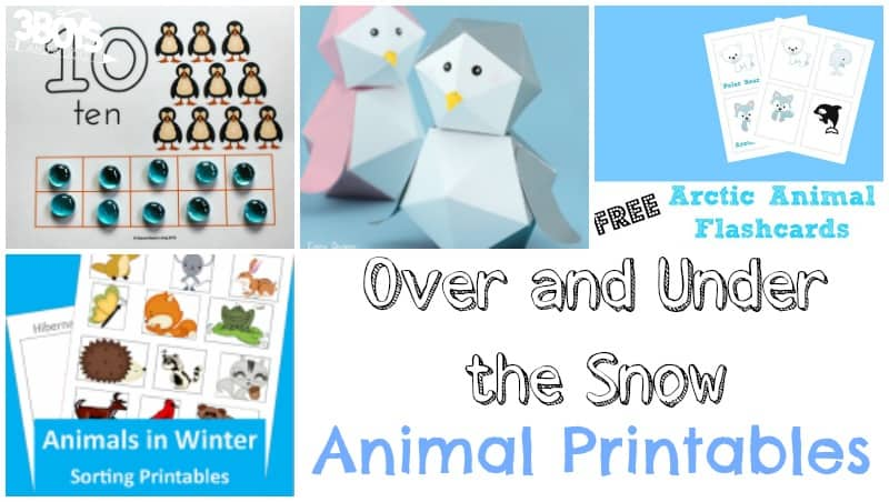 Over and Under the Snow Animal Printables for Kids