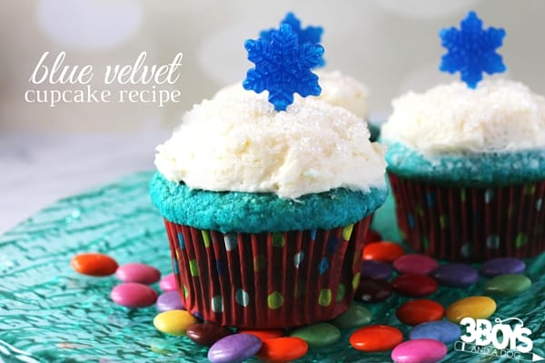 The perfect cupcake for a winter party, this blue velvet cupcake recipe is a total showstopper