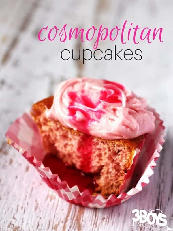 This cosmopolitan cupcake recipe is the perfect mini dessert recipe for your next party! Make a homemade cream soda syrup and transform a boxed cake mix into some amazing cupcakes