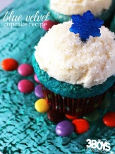 Frozen Inspired Blue Velvet Cupcakes