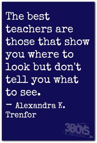 The best teachers are those that show you where to look but don't tell you what to see. - Alexandra K. Trenfor