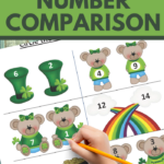 greater than math practice for early elementary in a cute saint patrick theme