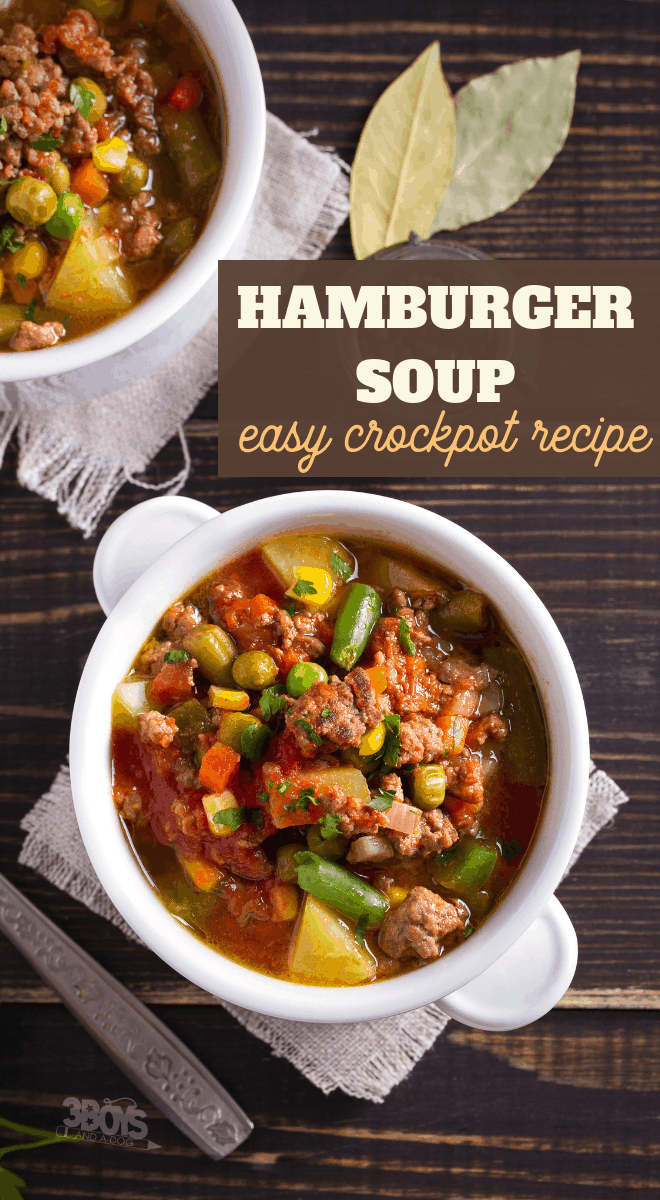 ground beef hamburger meat soup made in the crockpot