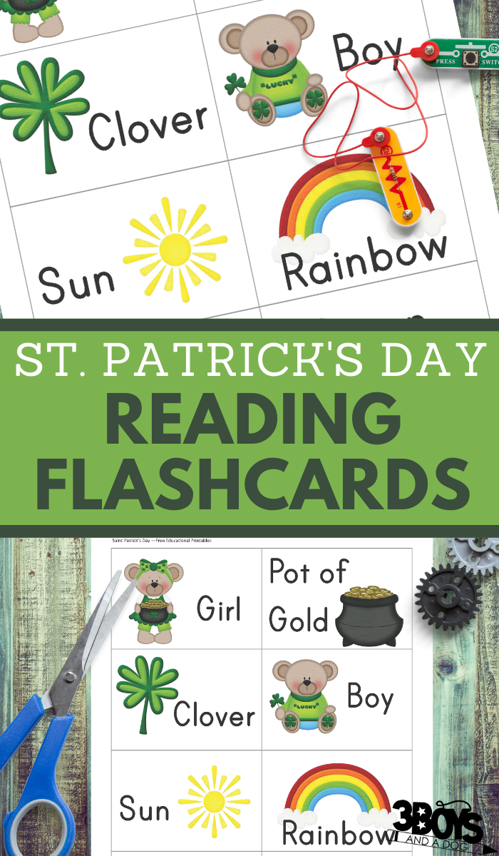 reading flashcards for preschoolers in a cute saint patrick theme