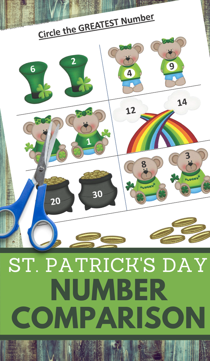 greater than worksheets in a fun shamrock theme