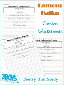 Famous Haiku Cursive Handwriting Printable Worksheets