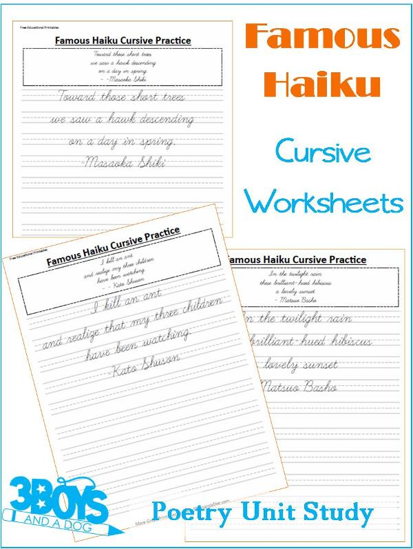 Cursive Handwriting Sheets: Poetry Unit Study – 3 Boys and a Dog
