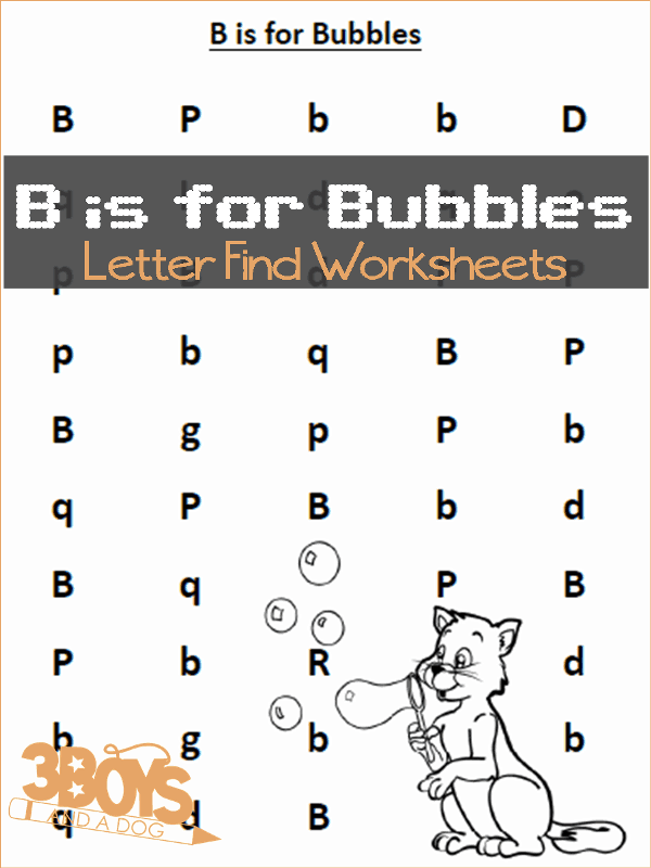 Find the Letter B is for Bubbles Worksheets
